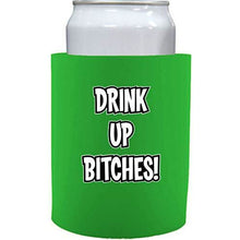 Load image into Gallery viewer, bright green thick foam old school koozie with drink up bitches design