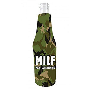 camo beer bottle koozie with MILF, man i love fishing funny text design