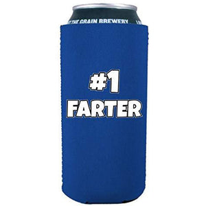 16oz can koozie with number one farter printed design