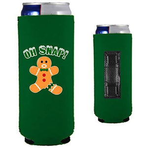 green magnetic slim can with funny oh snap gingerbread man with broken leg design