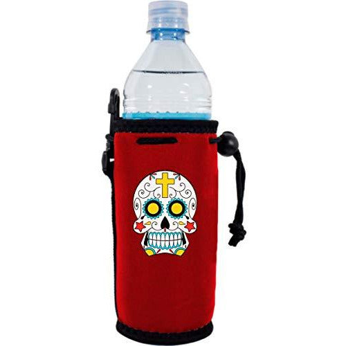 red water bottle koozie with sugar skull graphic design
