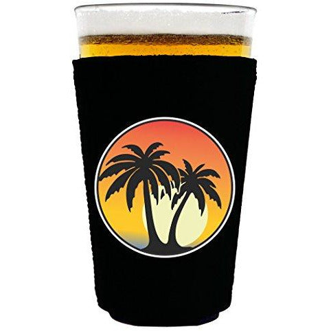 pint glass koozie with palm tree sunset design