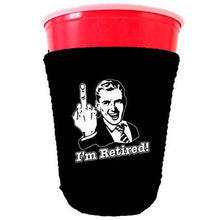 Load image into Gallery viewer, black party cup koozie with im retired design