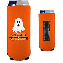 Load image into Gallery viewer, orange magnetic slim can koozie with show me your boos funny halloween design