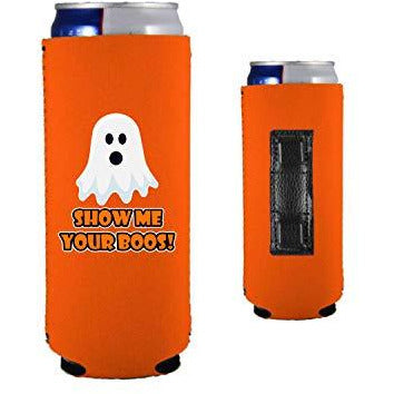 orange magnetic slim can koozie with show me your boos funny halloween design