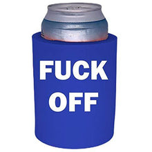 Load image into Gallery viewer, royal blue old school thick foam koozie with fuck off design