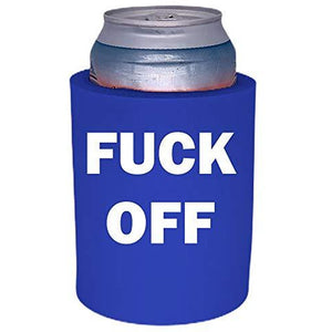 royal blue old school thick foam koozie with fuck off design