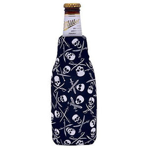 beer bottle koozie with pirate pattern design