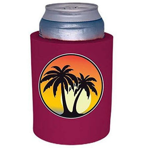 "Palm Tree Sunset Thick Foam""Old School"" Can Coolie"