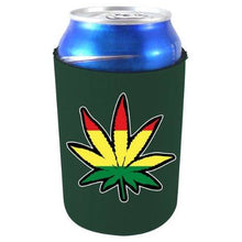 Load image into Gallery viewer, dark green can koozie with pot leaf design filled in red gold and green