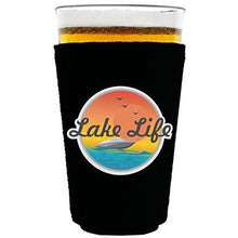 Load image into Gallery viewer, pint glass koozie with lake life design
