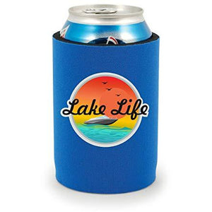 full bottom can koozie with lake life design