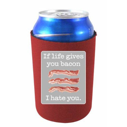 burgundy can koozie with