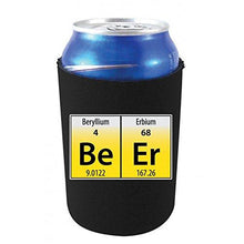 "Load image into Gallery viewer, black can koozie with ""BeEr"" elements periodic table funny design"