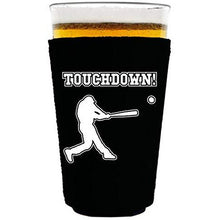 Load image into Gallery viewer, pint glass koozie with touchdown design