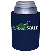 Load image into Gallery viewer, navy blue thick foam old school can koozie with dino-saur design