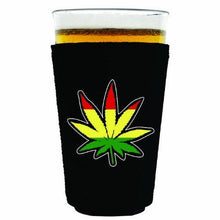 Load image into Gallery viewer, pint glass koozie with rasta design