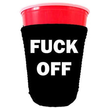 Load image into Gallery viewer, party cup koozie with fuck off design