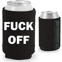 Load image into Gallery viewer, black magnetic can koozie with fuck off text in white