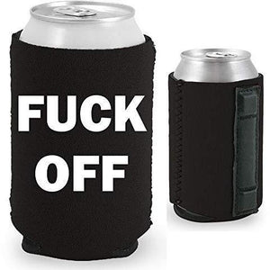 black magnetic can koozie with fuck off text in white