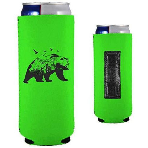 bright green magnetic slim can koozie with mountain bear graphic design