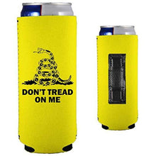 Load image into Gallery viewer, yellow magnetic slim can koozie with gadsden flag don't tread on me design and snake graphic