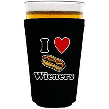 "Load image into Gallery viewer, black pint glass koozie with ""i (heart) wieners"" funny text and hot dog graphic design"