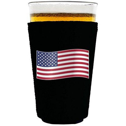pint glass koozie with world countries flag design