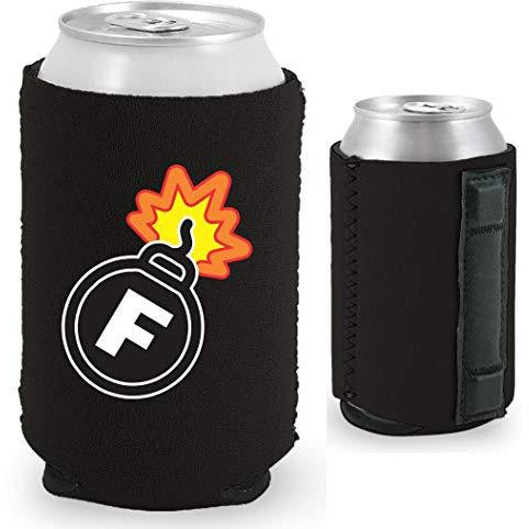 black magnetic can koozie with f bomb funny print design