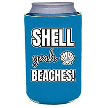 Load image into Gallery viewer, can koozie with shell yea beaches design