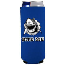 Load image into Gallery viewer, slim can koozie with bite me shark design