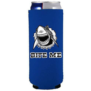 slim can koozie with bite me shark design