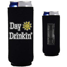 "Load image into Gallery viewer, black magnetic slim can koozie with ""day drinkin"" funny text design"