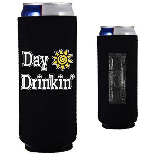 "black magnetic slim can koozie with ""day drinkin"" funny text design"