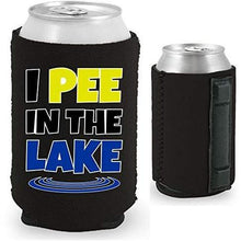 "Load image into Gallery viewer, black magnetic can koozie with ""I pee in the lake"" funny text design"