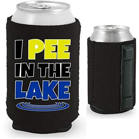 "black magnetic can koozie with ""I pee in the lake"" funny text design"