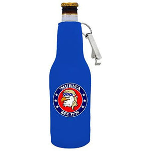 Murica 1776 Beer Bottle Coolie with Opener Attached