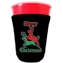 Load image into Gallery viewer, black party cup koozie with merry christmas design