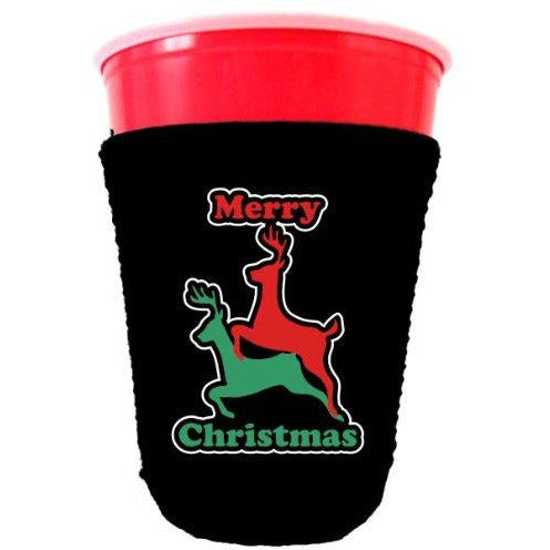 black party cup koozie with merry christmas design