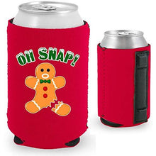 Load image into Gallery viewer, red magnetic can koozie with oh snap funny gingerbread man with broken leg design