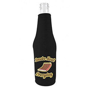 black zipper beer bottle koozie with funny smoke meat everyday design