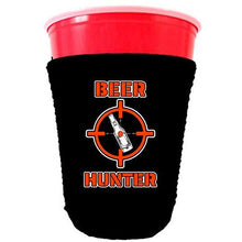 Load image into Gallery viewer, black party cup koozie with beer hunter design