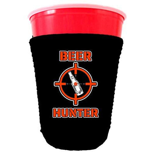 black party cup koozie with beer hunter design