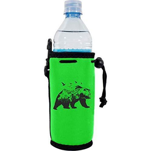 bright green water bottle koozie with mountain bear graphic design