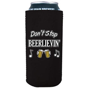 16 oz can koozie with dont stop believing design