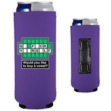 Load image into Gallery viewer, purple magnetic slim can koozie with funny go fuck yourself buy a vowel design
