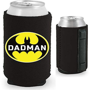 black magnetic can koozie with funny dadman design