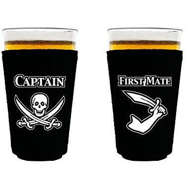 pint glass koozie with captain and first mate design