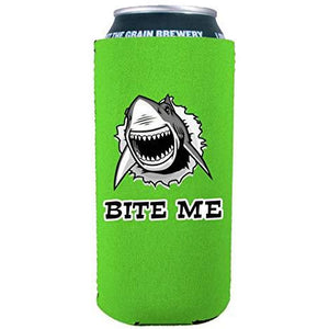 16 oz can koozie with bite me shark funny design
