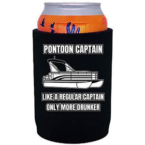 "black thick neoprene can koozie with ""pontoon captain, like a regular captain only more drunker"" funny text design"